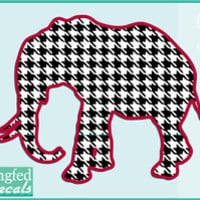 Alabama Inspired HOUNDSTOOTH ELEPHANT Vinyl Decal Car Truck Sticker CUSTOM SIZES