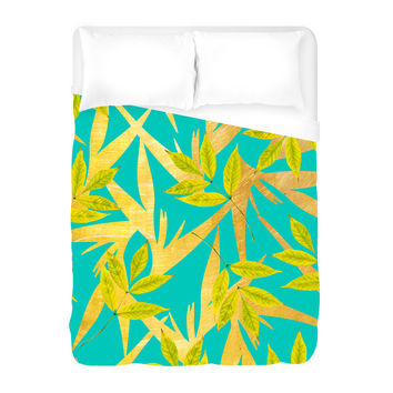 Gold and Teal Florals Duvet Cover