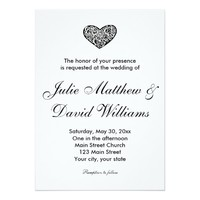 Simple Black and White Heart Wedding Invitation