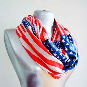 Handmade USA Flag Infinity Scarf - Summer Scarf - Navy Blue White Red Cotton Jersey