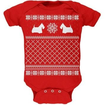 CREYCY8 Scottish Terrier Ugly Christmas Sweater Red Baby One Piece