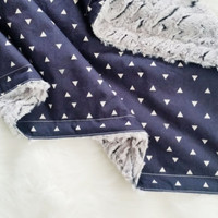triangle faux fur baby blanket, minky baby blanket, triangle tokens, personalization available