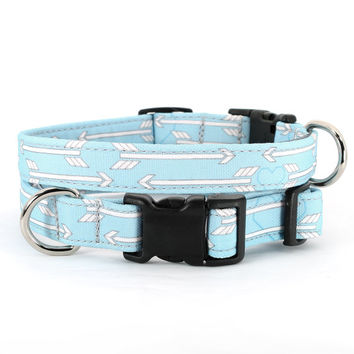 Blue dog collar with arrows and hearts : Beau blue - small, medium and large, 45% recycled material