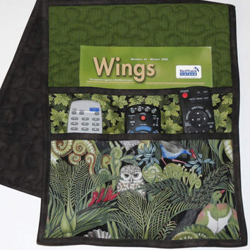 Quilted Armchair Caddy, Bedside Caddy, Rain Forest Birds
