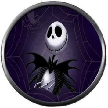 Jack Skellington On Purple Halloween Town Nightmare Before Christmas 18MM - 20MM Charm for Snap Jewelry New Item