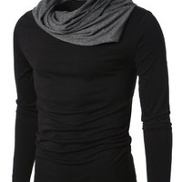 Doublju Mens Turtle Neck with Shirring Detail BLACK US - S Asian Medium