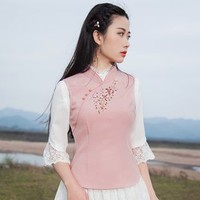 3/4-Sleeve Embroidered Top - Asian Fashion