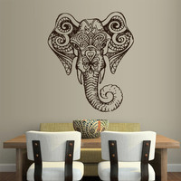 Large Wall Vinyl Sticker Decals Decor Art Bedroom Design Mural Ganesh Om Elephant Tatoo Head Mandala Tribal (z1960b)