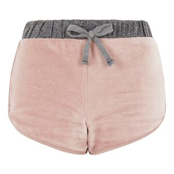 Nude Velour Loungewear Shorts