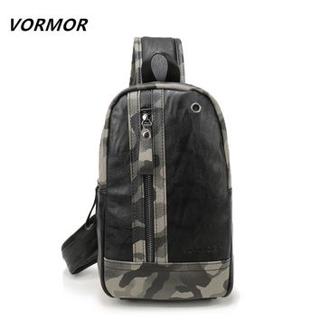 VORMOR 2017 Famous Brand New Men's Chest Bag PU leather Men Crossbody Bag Army Style Sling Shoulder Bags For Man