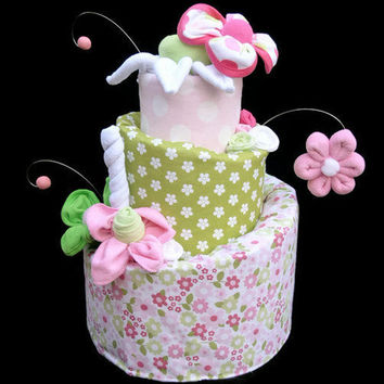 Diaper Cake for a Baby Girl Made to Order Baby by babyblossomco
