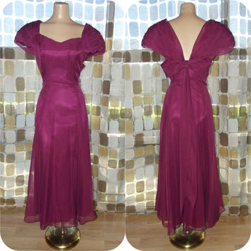Vintage 80s 90s Burgundy Chiffon Sweetheart Gown Sz 7/8 Formal Cocktail Dress Bridesmaid