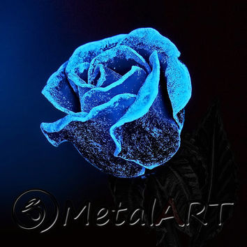 Metal Rose 'Sky Flare' Blacksmith Hand Forged Decor Luminous Iron Steel Art Flower Sculpture