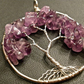 Amethyst Tree of Life Pendant by OddsAndEndsByKaley on Etsy
