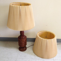 "Vintage Mid Century Stiffel Pleated Smocked Cream 13"" Lamp Shades"