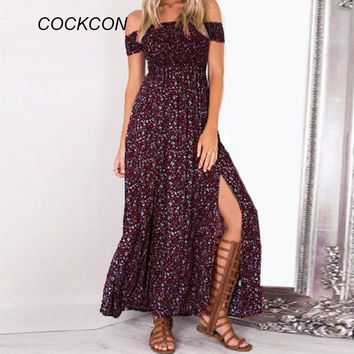 Summer Women Beach Dresses Vintage Floral Print Off Shoulder Split Tube Long Party Maxi Dress