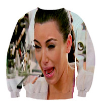 Kim Kardashian Crying Funny crewneck sweatshirt Fan Art All Over Style Print