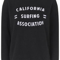 PETITE California Surfing Motif Sweat - Black