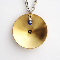 Heart Necklace, Handstamped Heart Brass Pendant, Blue Crystal, Domed Charm, Stamped Necklace Jewelry Handmade by Hendywood