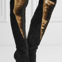 Christian Louboutin - Siegfridalta 100 suede and metallic leather over-the-knee boots