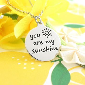 Cheerful 'You Are My Sunshine' Message Necklace