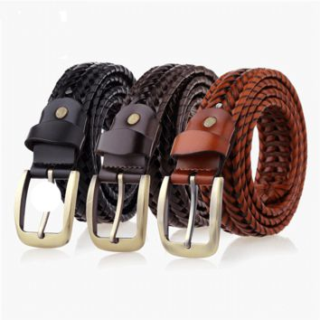 Mens Belt Luxury Leather braided Real Cow Skin Straps