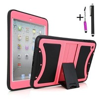 Cellular360 Ultra Shock&Drop-Proof Protective Kickstand Case W/ Free Stylus Pens for Apple iPad Mini with Retina Display (iPad Mini 2nd Gen.) and iPad Mini - Safe Cover Case with Dirt-proof Caps and Anti-Slip Grip Design and a Kickstand (Black and Pink)