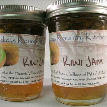 Two Jars Kiwi Jam. Homemade by Beckeys Kountry Kichen Jam Jelly Preserves Fruit Spread