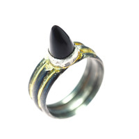 Black Jade Spike Ring oxidized Silver and 14k Gold