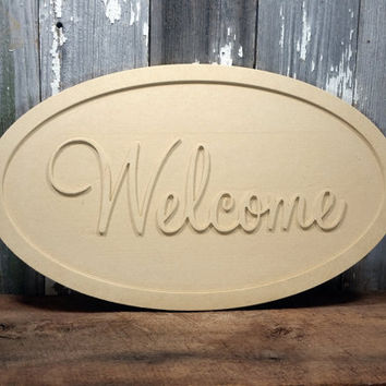 Welcome Sign DIY Unfinished Mdf wood paint do it yourself home decor wall hanging rustic shabby chic photo prop industrial craft project