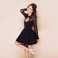 Edgy Sexy Backless Bodycon Lace Mini Dress