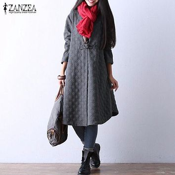 Women Vintage Elegant Long Trench Coats 2017 Autumn Female Long Sleeve Single Button Outerwear Casual Loose Solid Cotton Outwear