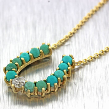 1880s Antique Victorian 14k Gold Diamond Turquoise Horseshoe Pendant Necklace