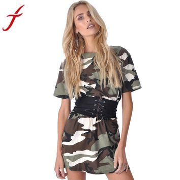 Women Summer Dress Short Sleeve Camouflage Print Plus Size