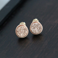 Druzy Studs, Bezel Rose Gold Gilded Wrapped Petite Titanium Druzy Quartz, Modern Minimalist Fashion