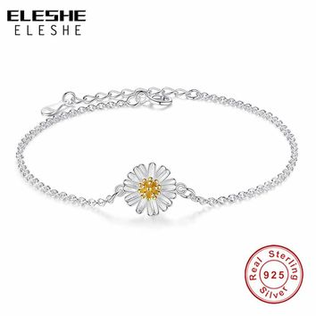 ELESHE Simple Cute 925 Sterling Silver Daisy Bracelets Flower Link Chain Braclets For Women wristband Jewelry