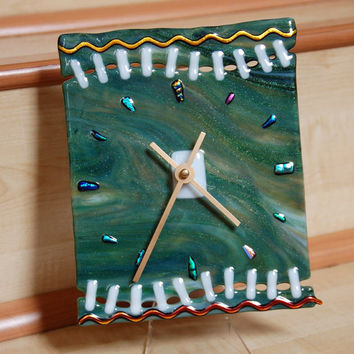Green wall clock, fused glass with dichroic