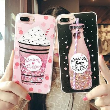 Cute Drink Bottle Ice Cream Glitter Star Dynamic Liquid Quicksand Phone Case For IPhone 6s Cases 6 7 Plus For Iphone 7 case