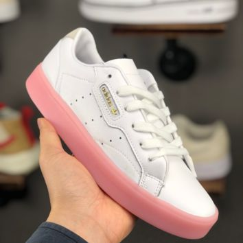 HCXX A1386 Adidas Sleek W Leather Classic Casual Sports Board Shoes White Pink