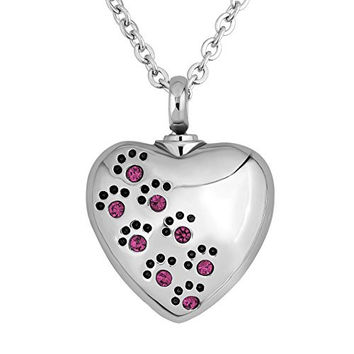 LuckyJewelry Pet Dog Paw Print Heart Urn Pendant Necklace Cremation