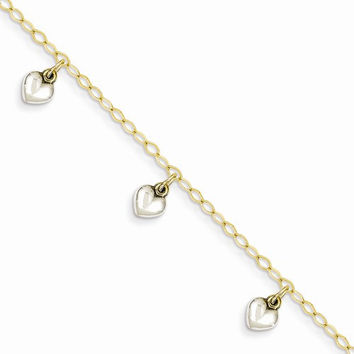 14k Two-tone Dangle Heart Baby Bracelet