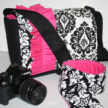 Digital Slr CAMERA Bag Dslr camera Bag Lens and Camera Strap Cover 2 black damask pink ruffle Sm XcessRize Designs