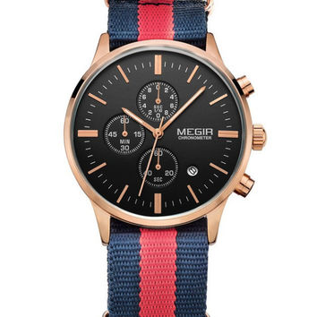 Megir Yachtsman Chrono (Red/Navy/Gold)