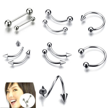 9 Styles 45pcs/lot Ear Cuff Stainless Steel Spiral Twisted Lip Nose Ear Jewelry Fake Piercing Clip On Hoop Boby Lip Nose Ring