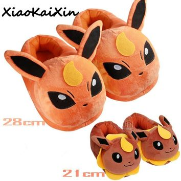 New Unisex Cute Anime Cartoon  Slippers Women and Men Warm Indoor Floor Home Plush Shoes Pikachu Fluffy Slippers ChildrenKawaii Pokemon go  AT_89_9
