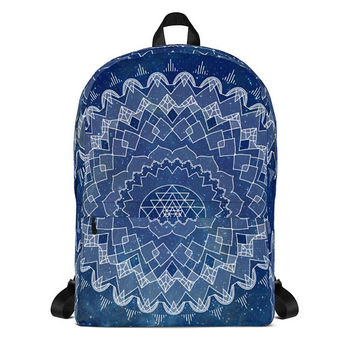 Deep Blue Mandala Backpack - all over printed blue backpack