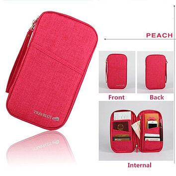 PEACH PINK Travel Journey Document Organizer Wallet Passport ID Card Holder Ticket Credit Card Bag Case