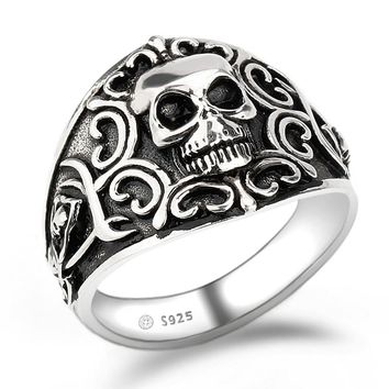 Men Ring 925 Sterling Silver Skull Skeleton Punk Rock Style Finger Ring for Male Party Fashion Jewelry