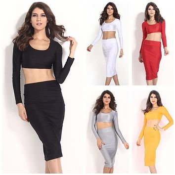 Swagger Dynasty Two Pieces Long Sleeve Bodycon Crop Top Pencil Skirt Dress Twin Set Party Clubwear