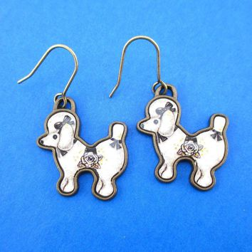 French Poodle Puppy Shaped Dangle Drop Earrings in Black and White | Animal Jewelry